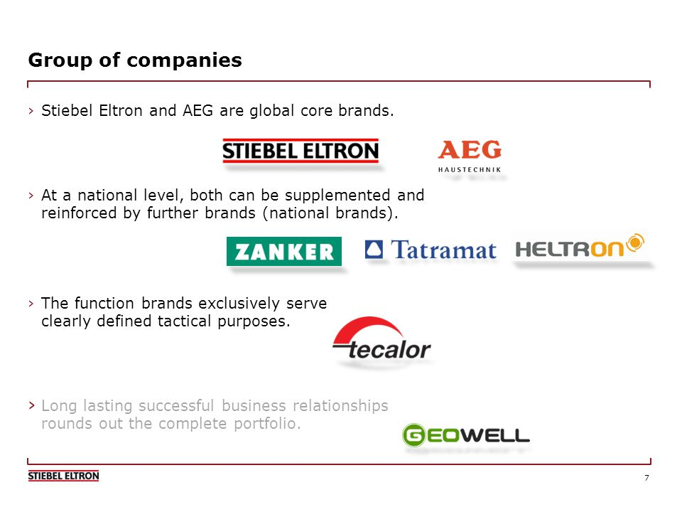 7 Group of companies Stiebel Eltron and AEG are global core brands.