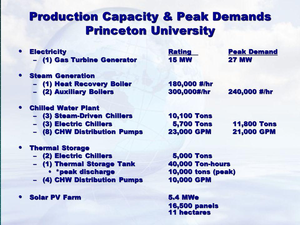 Production Capacity & Peak Demands Princeton University ElectricityRating Peak Demand ElectricityRating Peak Demand –(1) Gas Turbine Generator15 MW27