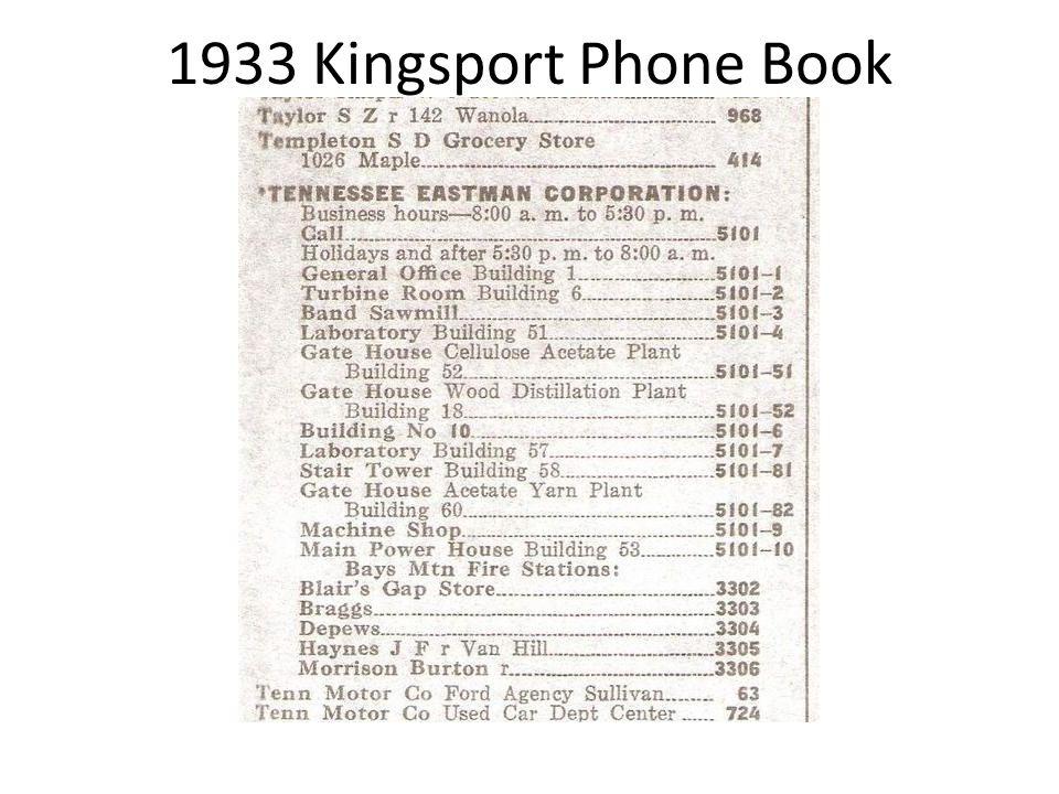 1933 Kingsport Phone Book