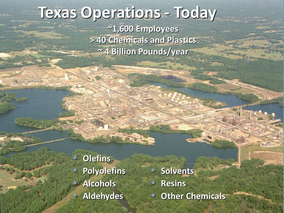 ~1,600 Employees > 40 Chemicals and Plastics ~ 4 Billion Pounds/year Texas Operations - Today Olefins Olefins Polyolefins Polyolefins Alcohols Alcohol