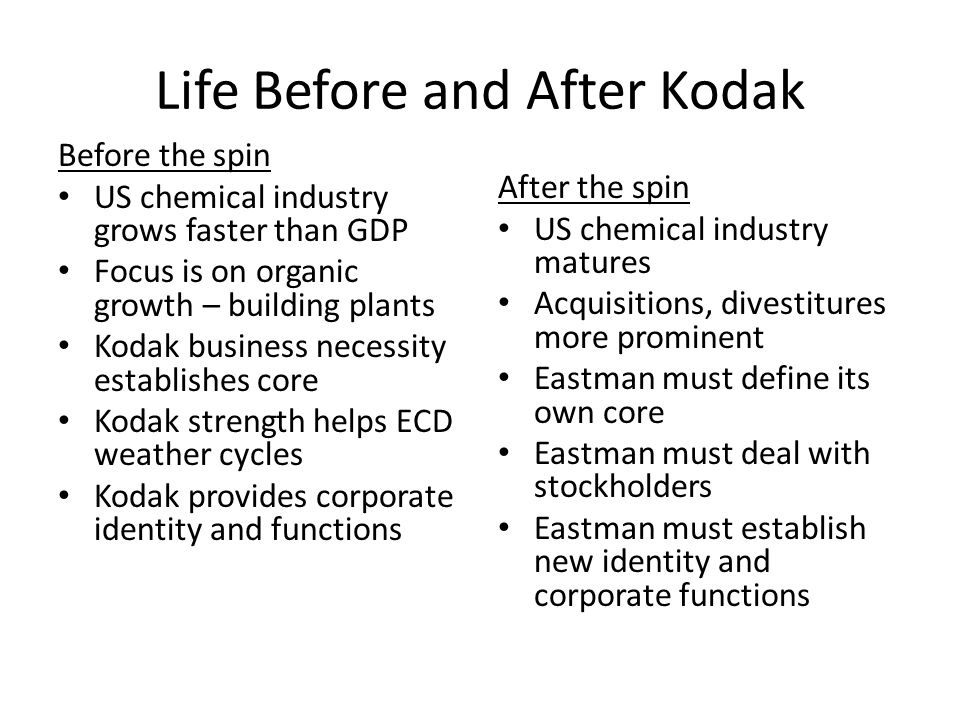 Life Before and After Kodak Before the spin US chemical industry grows faster than GDP Focus is on organic growth – building plants Kodak business nec