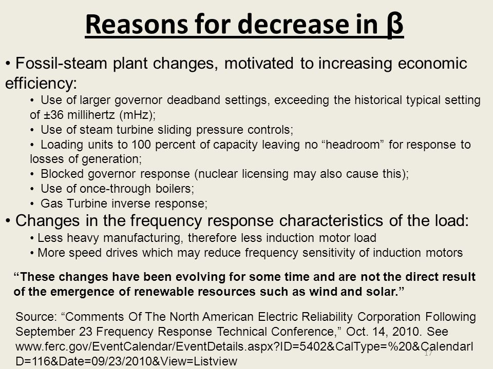 Reasons for decrease in β 17 Fossil-steam plant changes, motivated to increasing economic efficiency: Use of larger governor deadband settings, exceed