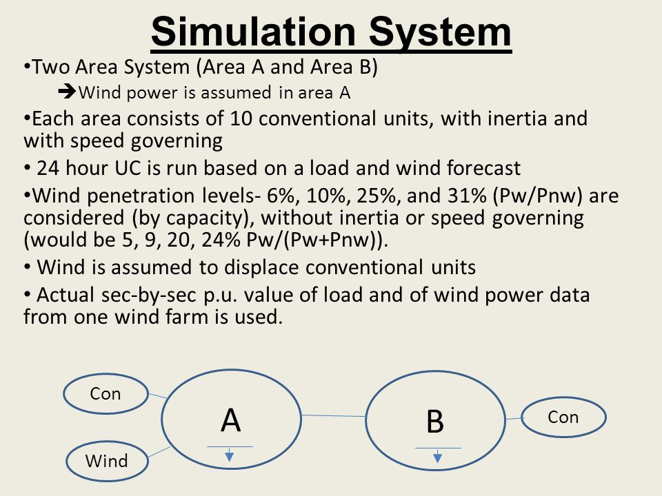 Simulation System Two Area System (Area A and Area B) Wind power is assumed in area A Each area consists of 10 conventional units, with inertia and wi