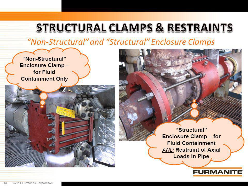 13©2011 Furmanite Corporation Non-Structural and Structural Enclosure Clamps Non-Structural Enclosure Clamp – for Fluid Containment Only Structural En