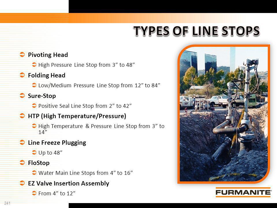 241 Furmanite Confidential - 1/9/04 Pivoting Head High Pressure Line Stop from 3 to 48 Folding Head Low/Medium Pressure Line Stop from 12 to 84 Sure-S