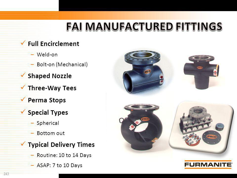 243 Furmanite Confidential - 1/9/04 Full Encirclement –Weld-on –Bolt-on (Mechanical) Shaped Nozzle Three-Way Tees Perma Stops Special Types –Spherical