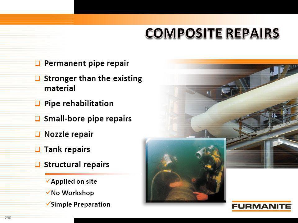 250 Furmanite Confidential - 1/9/04 Permanent pipe repair Stronger than the existing material Pipe rehabilitation Small-bore pipe repairs Nozzle repai