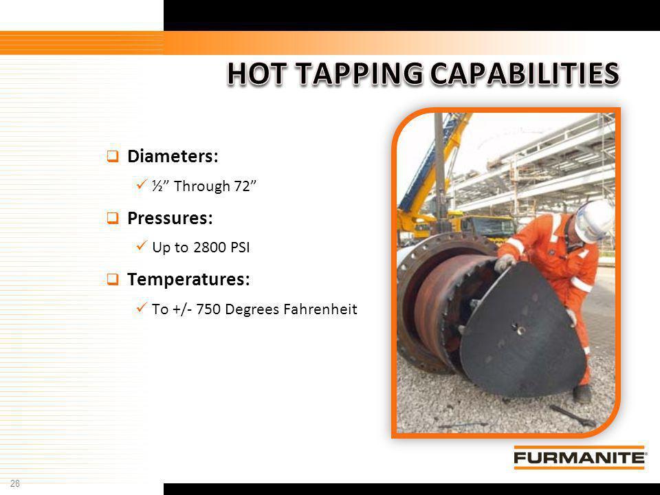 28 Furmanite Confidential - 1/9/04 Diameters: ½ Through 72 Pressures: Up to 2800 PSI Temperatures: To +/- 750 Degrees Fahrenheit