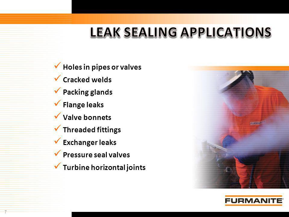 7 Furmanite Confidential - 1/9/04 Holes in pipes or valves Cracked welds Packing glands Flange leaks Valve bonnets Threaded fittings Exchanger leaks P
