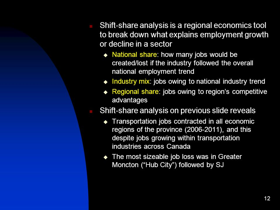 Shift-share analysis is a regional economics tool to break down what explains employment growth or decline in a sector National share: how many jobs would be created/lost if the industry followed the overall national employment trend Industry mix: jobs owing to national industry trend Regional share: jobs owing to regions competitive advantages Shift-share analysis on previous slide reveals Transportation jobs contracted in all economic regions of the province (2006-2011), and this despite jobs growing within transportation industries across Canada The most sizeable job loss was in Greater Moncton (Hub City) followed by SJ 12