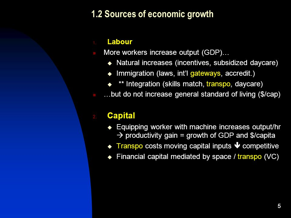1.2 Sources of economic growth 1.