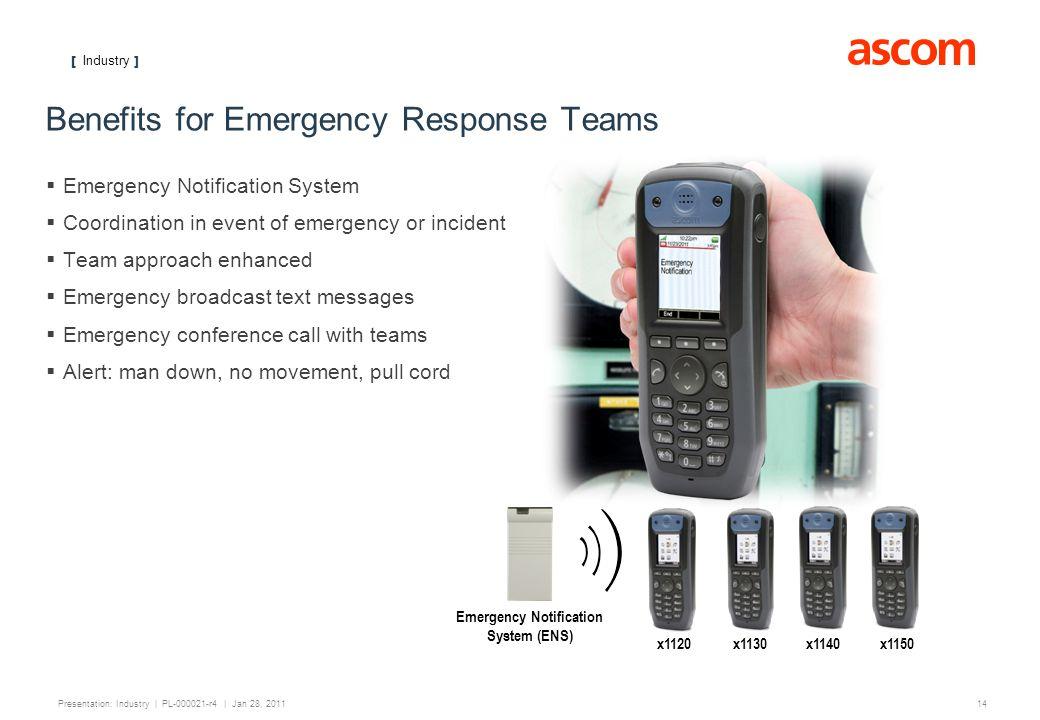[ Industry ] 14 Presentation: Industry | PL-000021-r4 | Jan 28, 2011 Benefits for Emergency Response Teams Emergency Notification System Coordination