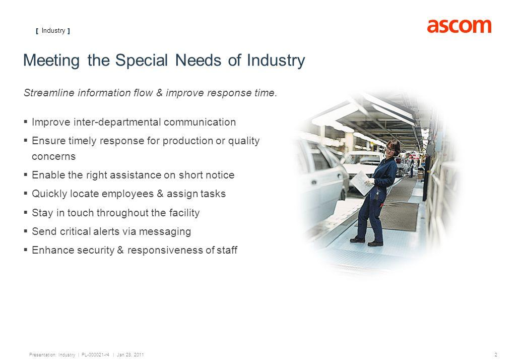 [ Industry ] 3 Presentation: Industry | PL-000021-r4 | Jan 28, 2011 Industry Customers Shell