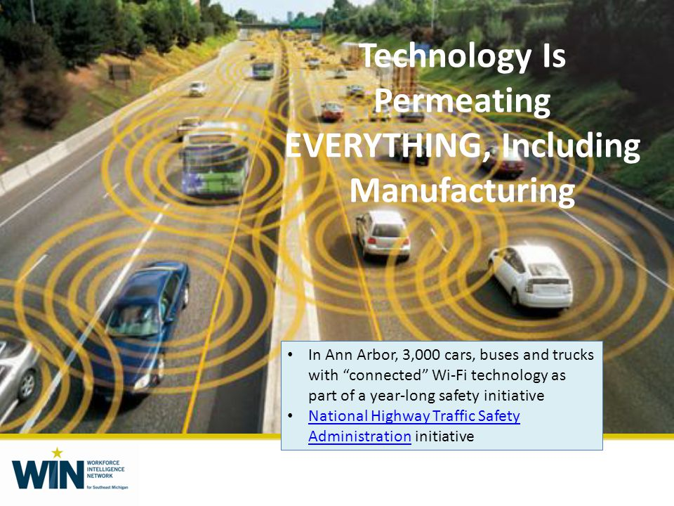 Technology Is Permeating EVERYTHING, Including Manufacturing In Ann Arbor, 3,000 cars, buses and trucks with connected Wi-Fi technology as part of a year-long safety initiative National Highway Traffic Safety Administration initiative National Highway Traffic Safety Administration