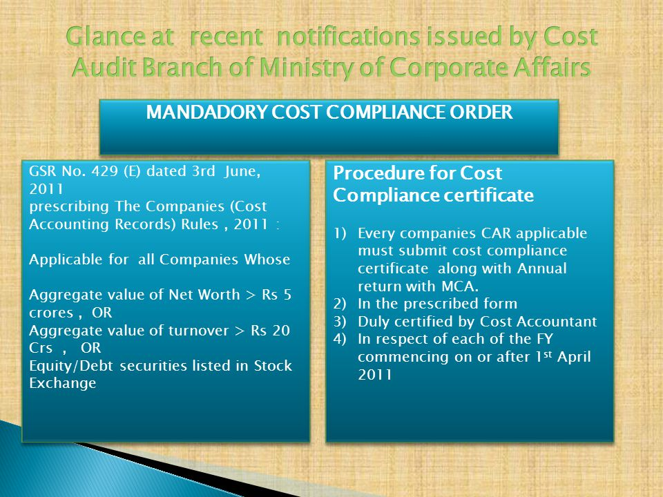 MANDADORY COST COMPLIANCE ORDER GSR No. 429 (E) dated 3rd June, 2011 prescribing The Companies (Cost Accounting Records) Rules, 2011 : Applicable for