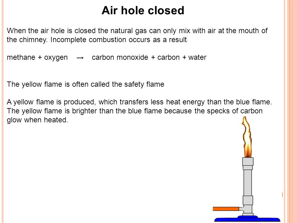 Air hole closed When the air hole is closed the natural gas can only mix with air at the mouth of the chimney. Incomplete combustion occurs as a resul