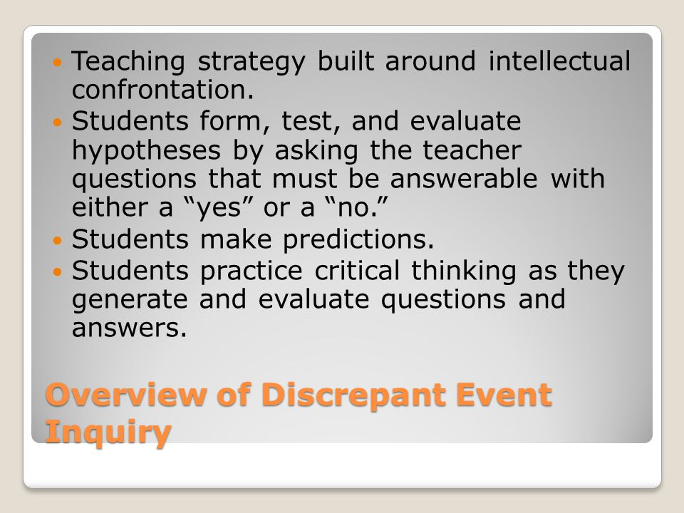 Overview of Discrepant Event Inquiry Teaching strategy built around intellectual confrontation.