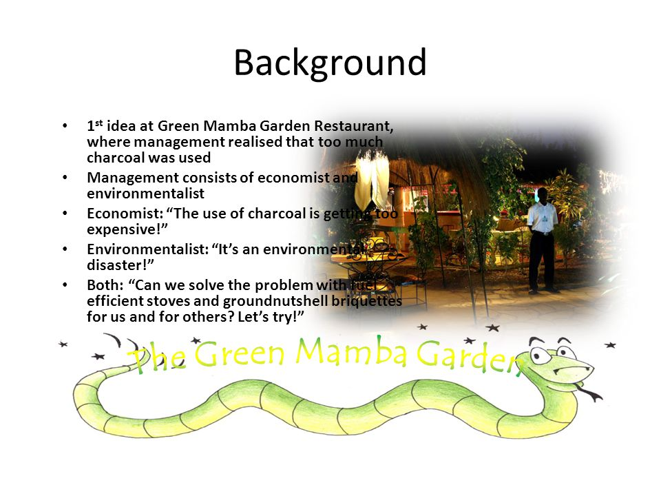 Background 1 st idea at Green Mamba Garden Restaurant, where management realised that too much charcoal was used Management consists of economist and environmentalist Economist: The use of charcoal is getting too expensive.