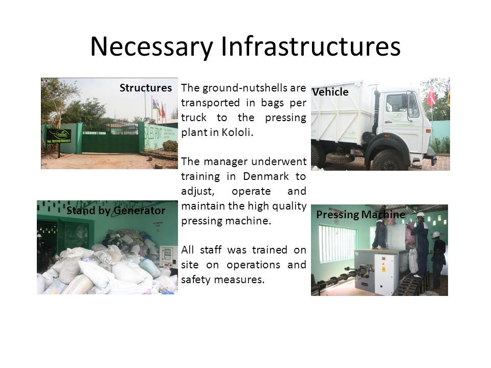 Necessary Infrastructures The ground-nutshells are transported in bags per truck to the pressing plant in Kololi.