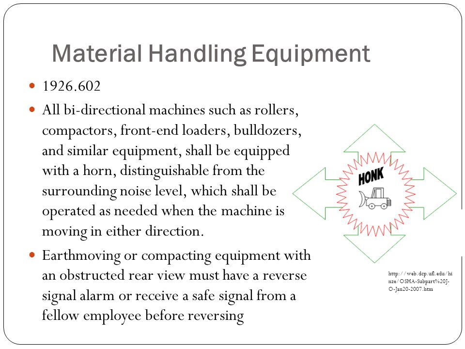 Material Handling Equipment 1926.602 All bi-directional machines such as rollers, compactors, front-end loaders, bulldozers, and similar equipment, sh