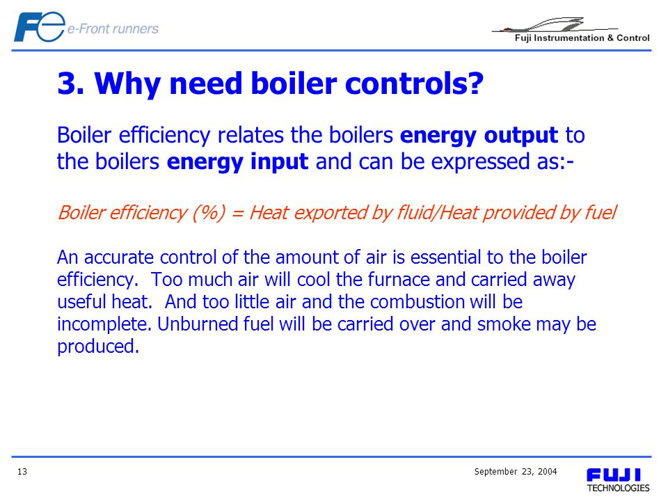 September 23, 200413 3.Why need boiler controls.