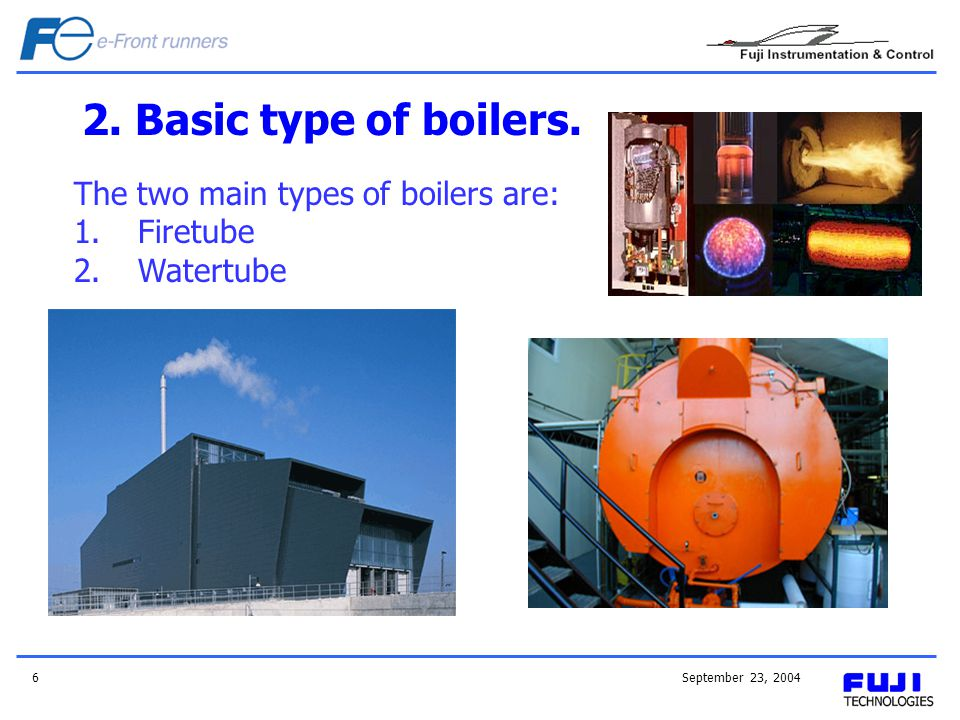 September 23, 20046 2. Basic type of boilers. The two main types of boilers are: 1.Firetube 2.Watertube
