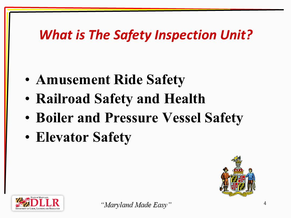 Maryland Made Easy 45 The Process After a satisfactory inspection report is received, your Certificate will be mailed within 14 days.