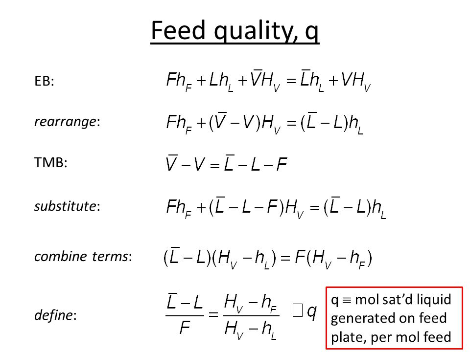 Feed quality, q EB: rearrange: TMB: substitute: combine terms: define: q mol satd liquid generated on feed plate, per mol feed