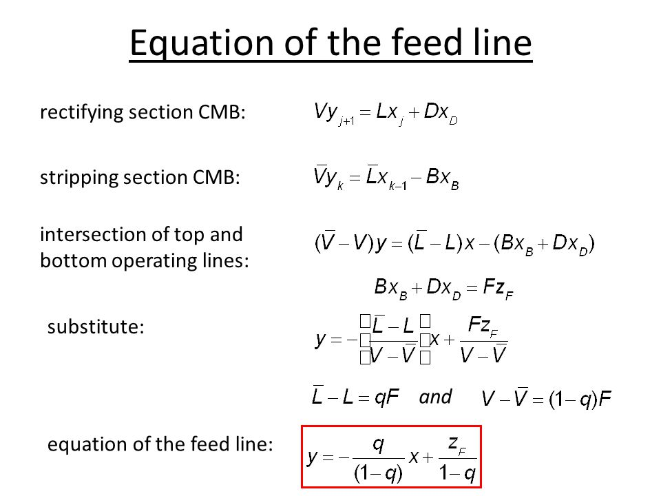Equation of the feed line rectifying section CMB: and stripping section CMB: intersection of top and bottom operating lines: substitute: equation of t