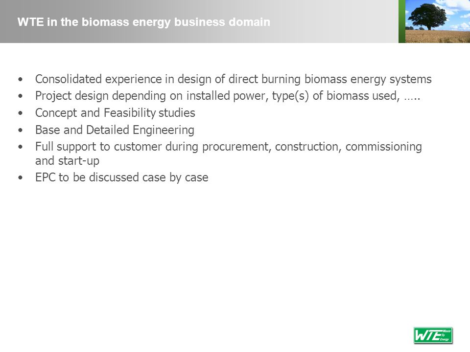 WTE in the biomass energy business domain Consolidated experience in design of direct burning biomass energy systems Project design depending on insta