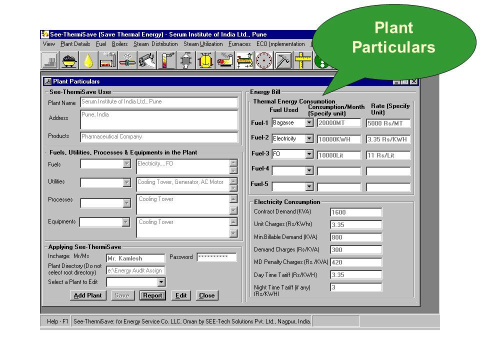 Plant Particulars