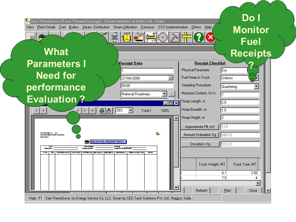 What Parameters I Need for performance Evaluation Do I Monitor Fuel Receipts