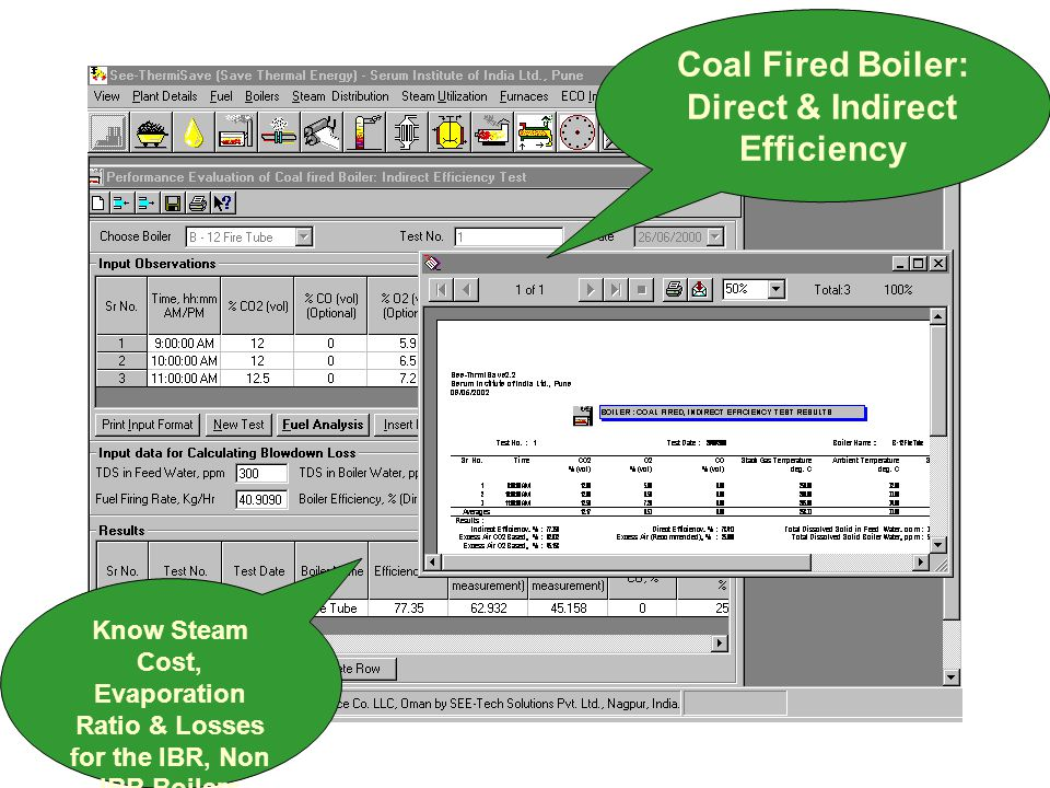 Coal Fired Boiler: Direct & Indirect Efficiency Know Steam Cost, Evaporation Ratio & Losses for the IBR, Non IBR Boilers