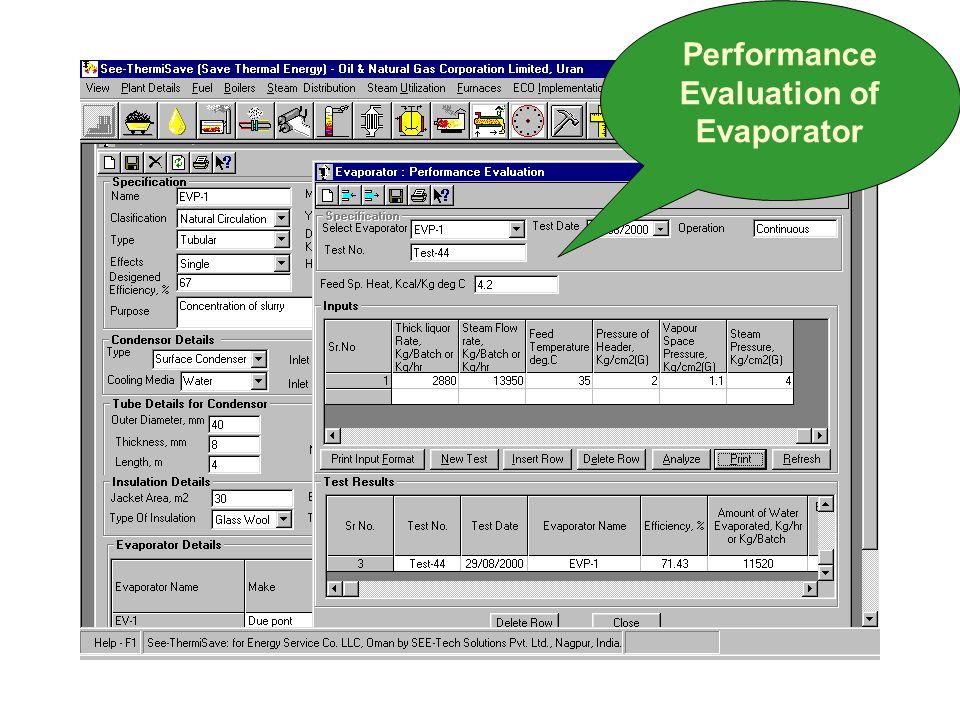 Performance Evaluation of Evaporator