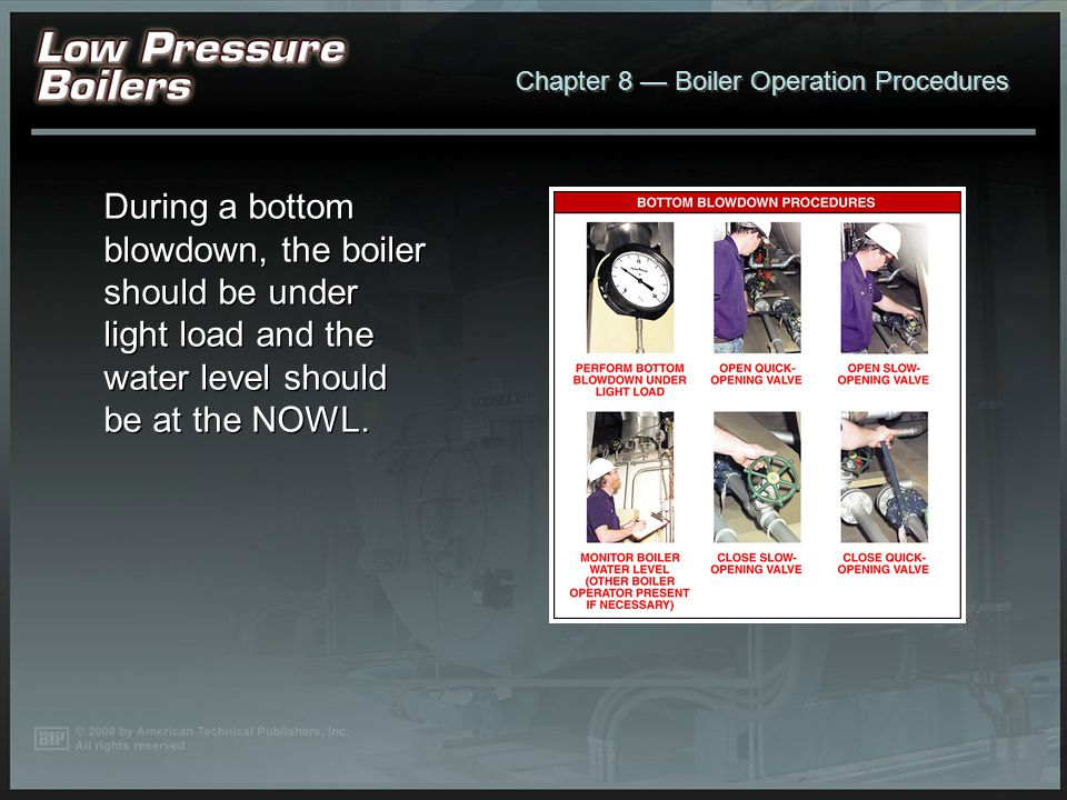 Chapter 8 Boiler Operation Procedures When blowing down the gauge glass, water should enter the gauge glass quickly when the gauge glass blowdown valv