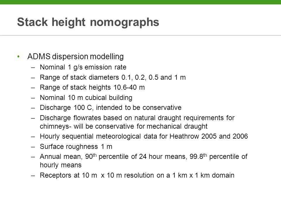 Stack height nomographs ADMS dispersion modelling –Nominal 1 g/s emission rate –Range of stack diameters 0.1, 0.2, 0.5 and 1 m –Range of stack heights 10.6-40 m –Nominal 10 m cubical building –Discharge 100 C, intended to be conservative –Discharge flowrates based on natural draught requirements for chimneys- will be conservative for mechanical draught –Hourly sequential meteorological data for Heathrow 2005 and 2006 –Surface roughness 1 m –Annual mean, 90 th percentile of 24 hour means, 99.8 th percentile of hourly means –Receptors at 10 m x 10 m resolution on a 1 km x 1 km domain
