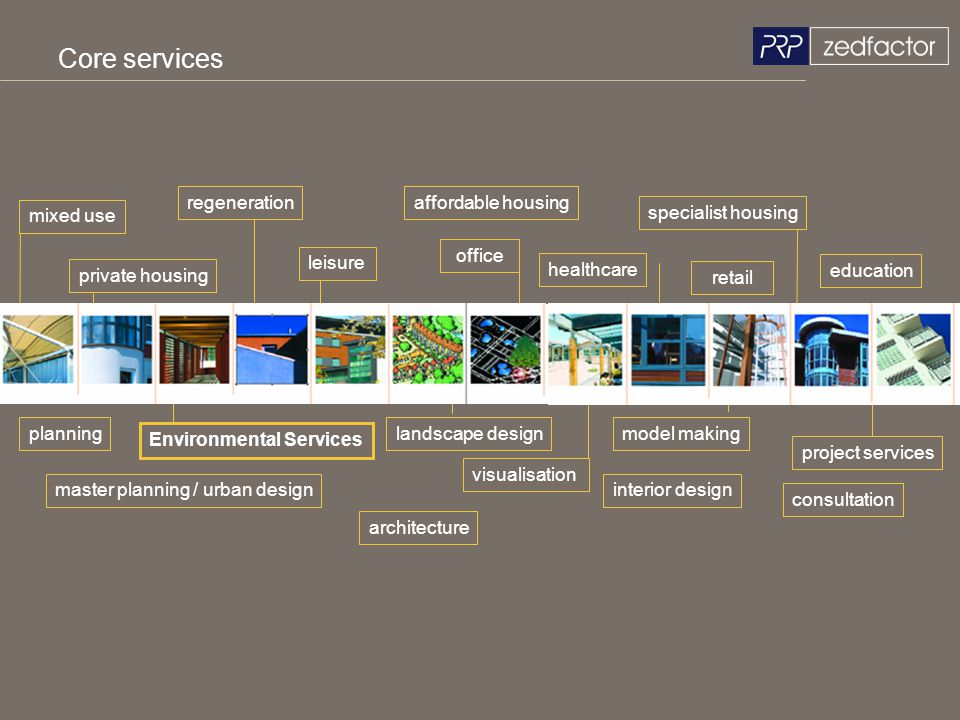 Core services mixed use private housing Environmental Services affordable housing master planning / urban design education healthcare architecture reg
