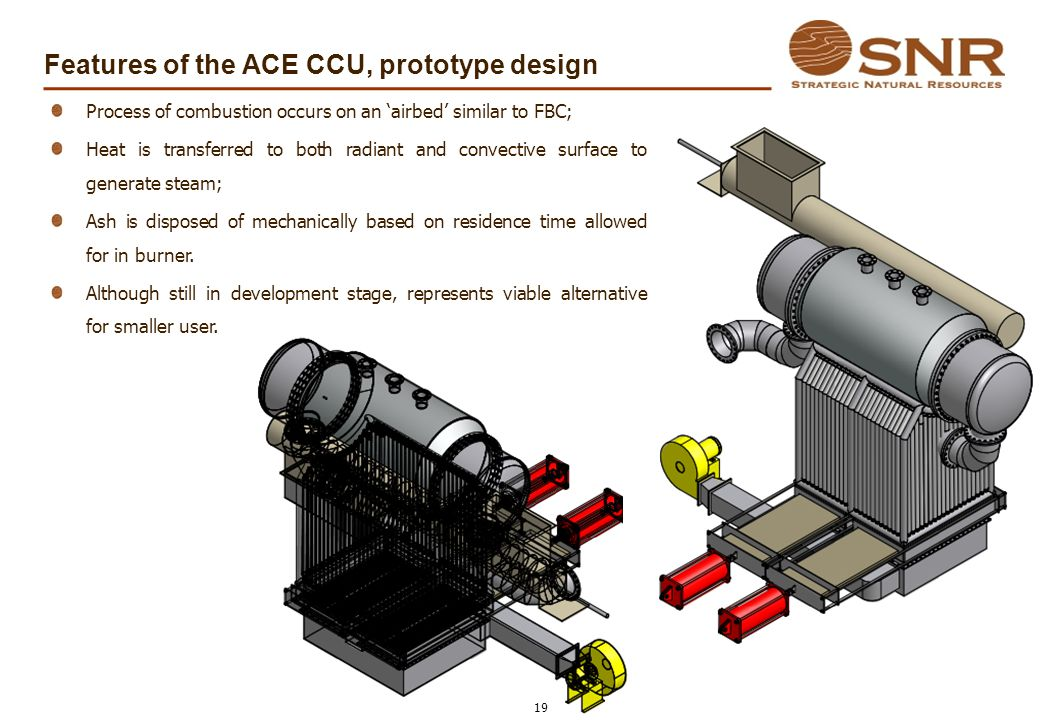 Features of the ACE CCU, prototype design 19 Process of combustion occurs on an airbed similar to FBC; Heat is transferred to both radiant and convect