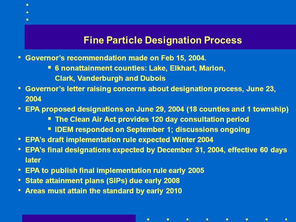 Fine Particle Designation Process Governors recommendation made on Feb 15, 2004. 6 nonattainment counties: Lake, Elkhart, Marion, Clark, Vanderburgh a