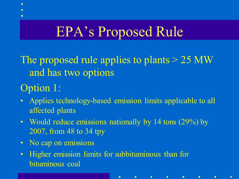 EPAs Proposed Rule The proposed rule applies to plants > 25 MW and has two options Option 1: Applies technology-based emission limits applicable to al