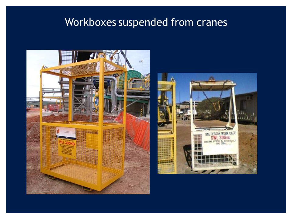 Department of Consumer and Employment Protection Resources Safety 40 Workboxes suspended from cranes