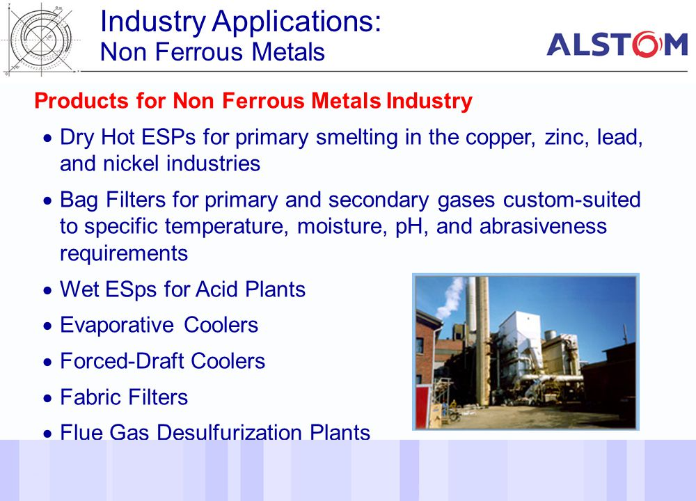 30 Products for Non Ferrous Metals Industry Dry Hot ESPs for primary smelting in the copper, zinc, lead, and nickel industries Bag Filters for primary