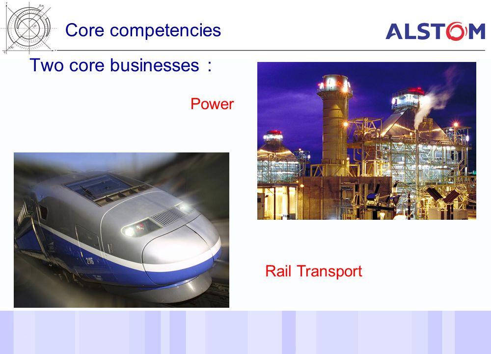 4 Core competencies 4 Two core businesses : Rail Transport Power