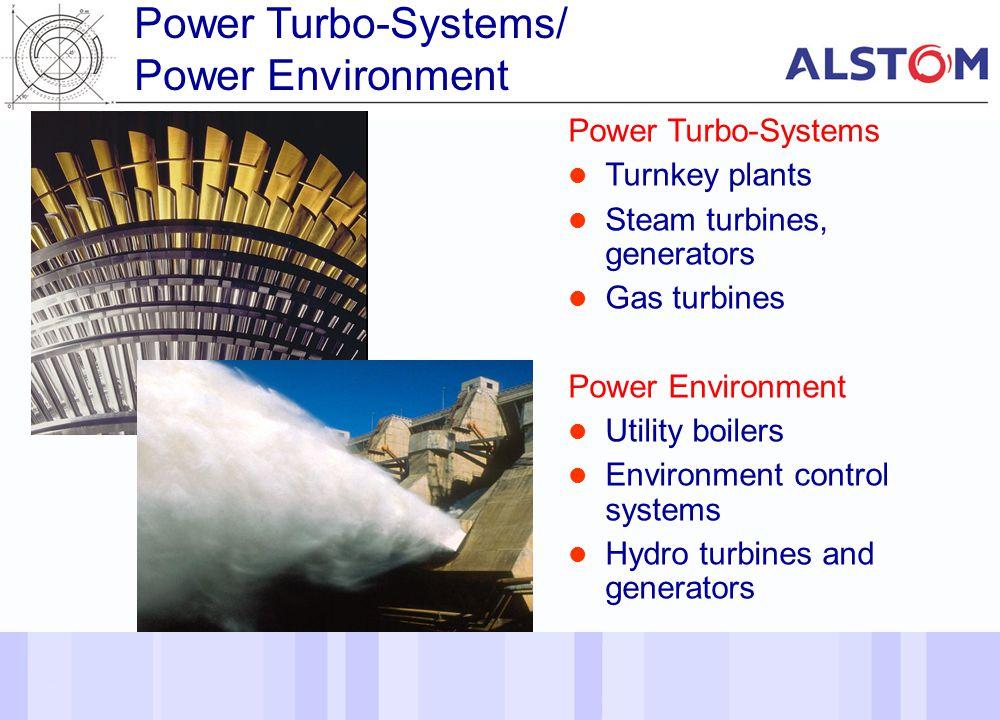 5 Power Turbo-Systems Turnkey plants Steam turbines, generators Gas turbines Power Environment Utility boilers Environment control systems Hydro turbi