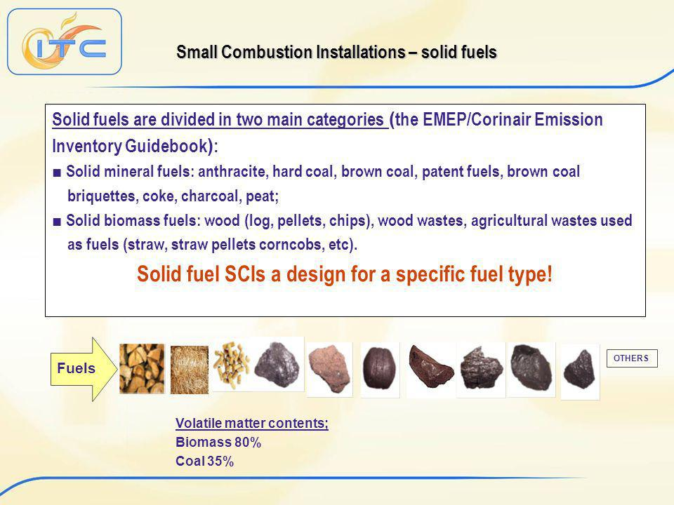 Small Combustion Installations – solid fuels Solid fuels are divided in two main categories ( the EMEP/Corinair Emission Inventory Guidebook ) : Solid mineral fuels: anthracite, hard coal, brown coal, patent fuels, brown coal briquettes, coke, charcoal, peat; Solid biomass fuels: wood (log, pellets, chips), wood wastes, agricultural wastes used as fuels (straw, straw pellets corncobs, etc).