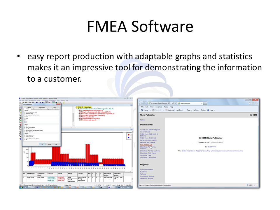 FMEA Software easy report production with adaptable graphs and statistics makes it an impressive tool for demonstrating the information to a customer.