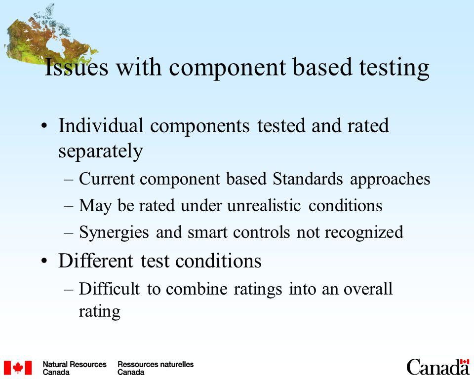 Issues with component based testing Individual components tested and rated separately –Current component based Standards approaches –May be rated under unrealistic conditions –Synergies and smart controls not recognized Different test conditions –Difficult to combine ratings into an overall rating
