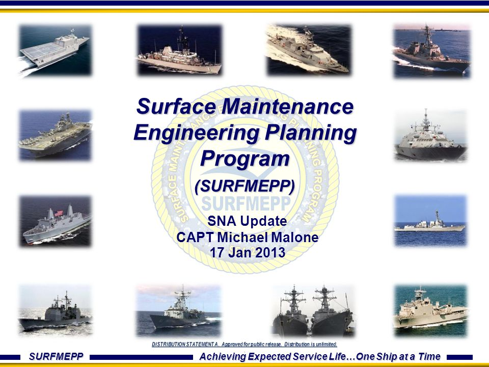 SURFMEPP Achieving Expected Service Life…One Ship at a Time DISTRIBUTION STATEMENT A. Approved for public release. Distribution is unlimited.. Surface
