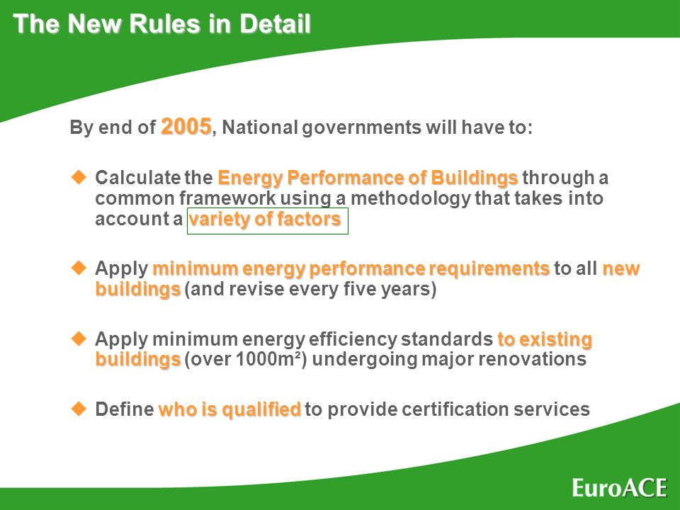 The New Rules in Detail 2005 By end of 2005, National governments will have to: Energy Performance of Buildings variety of factors uCalculate the Energy Performance of Buildings through a common framework using a methodology that takes into account a variety of factors minimum energy performance requirementsnew buildings uApply minimum energy performance requirements to all new buildings (and revise every five years) to existing buildings uApply minimum energy efficiency standards to existing buildings (over 1000m²) undergoing major renovations who is qualified uDefine who is qualified to provide certification services