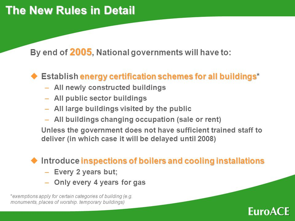 The New Rules in Detail 2005 By end of 2005, National governments will have to: energy certification schemes for all buildings uEstablish energy certification schemes for all buildings* –All newly constructed buildings –All public sector buildings –All large buildings visited by the public –All buildings changing occupation (sale or rent) Unless the government does not have sufficient trained staff to deliver (in which case it will be delayed until 2008) inspections of boilers and cooling installations uIntroduce inspections of boilers and cooling installations –Every 2 years but; –Only every 4 years for gas *exemptions apply for certain categories of building (e.g.